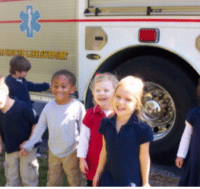 kids and firefighter