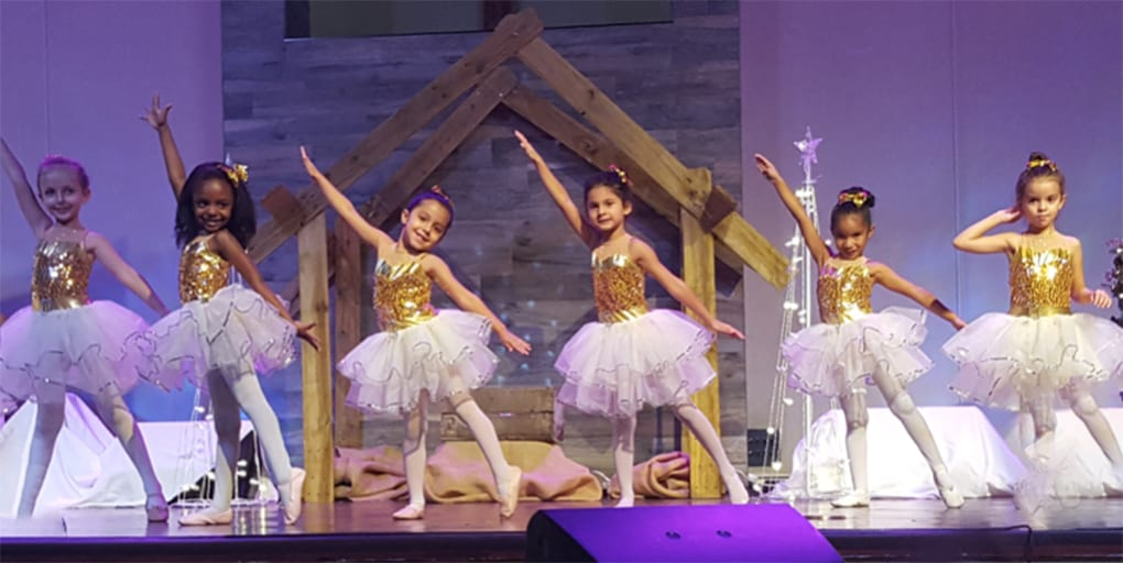 elementary girls performing ballet
