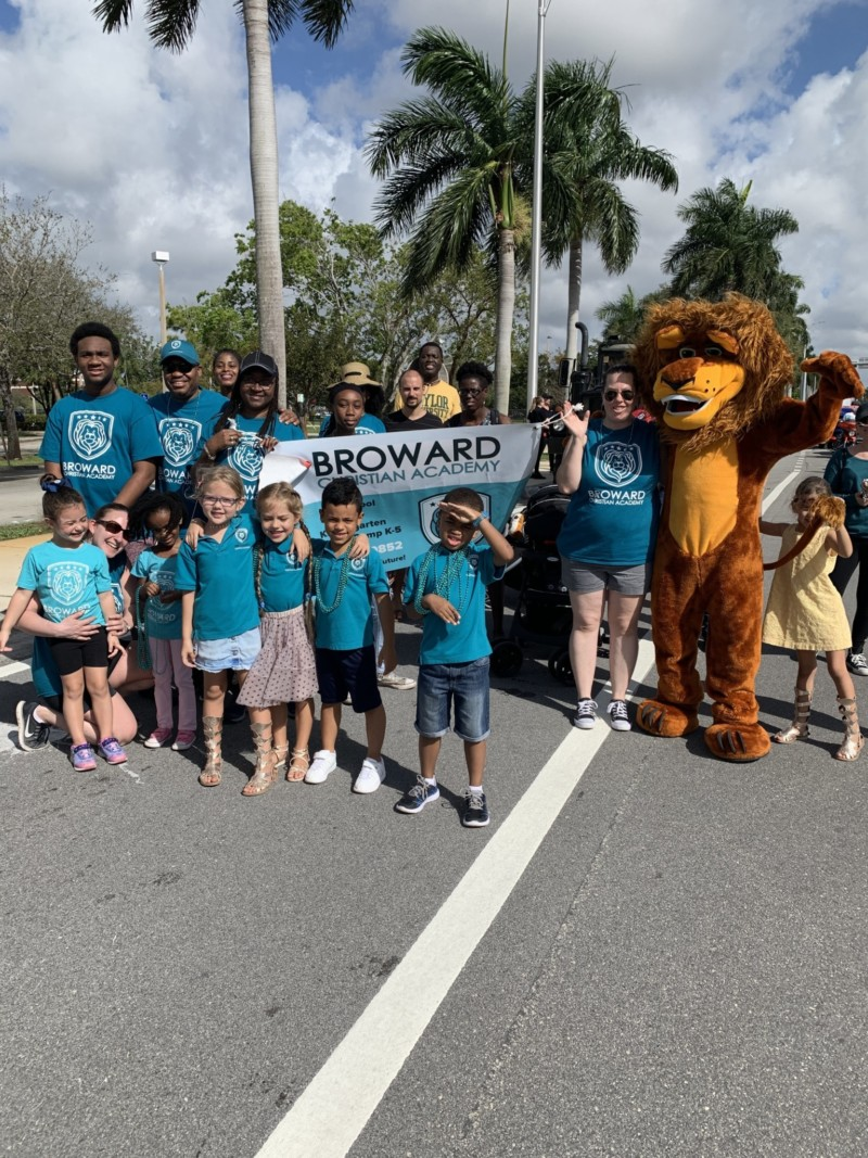 students at broward christian academy with school mascot